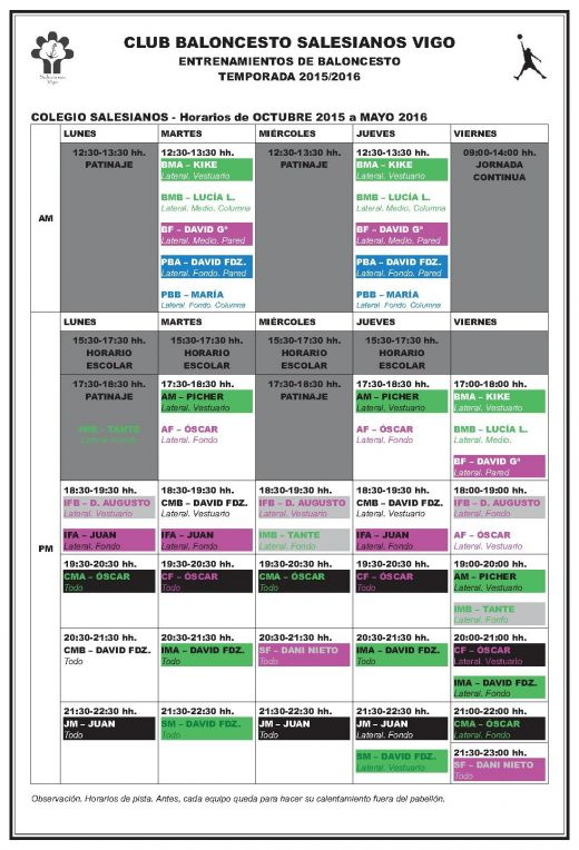 Horarios TEMPORADA 15-16 en color