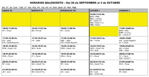 Pretemporada 6-28 sept-4 oct